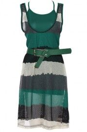 ROMWE Color Block Green Sleeveless Two-pieced Dress