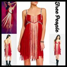 """FREE PEOPLE PARTY DRESS Flapping My Fringe RETAIL PRICE: $400 NEW WITH TAGS  FREE PEOPLE PARTY DRESS Flapping My Fringe  * V-neck & thin straps  * Beautiful embellished ribbon lace like trim & allover luscious fringe  * Hidden back zip closure  * Approx 39"""" L  * Lightweight & lined  # Cocktail # short prom  ***Tagged size 6 (S) will approx. fit sizes 4-6 Fabric: 100% polyester Color: Red Combo Item:  # sexy club Red Fuschia No Trades ✅ Offers Considered*/Bundle Discounts✅  *Please use the…"""