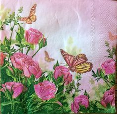 Decoupage Napkins,4+1 FREE Single  Paper Napkins, Roses & Butterflies, 13 inches (33cm) for Decoupage, Paper-Craft and Collage by kroshkame on Etsy