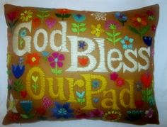 New pillow made from a vintage crewel piece