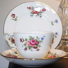 Crown Staffordshire Fine Bone China Trio  Roses   Tea Cup, Saucer & Side Plate