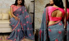 in - Saree Code : Gray Pink Blouse – Plain pink silk cotton Price 4900 Rs Kindly write to varunigopen@ - Cotton Saree Blouse Designs, Simple Blouse Designs, Stylish Blouse Design, Saree Blouse Patterns, Designer Blouse Patterns, Bridal Blouse Designs, Latest Blouse Designs, Simple Blouse Pattern, Silk Cotton Sarees
