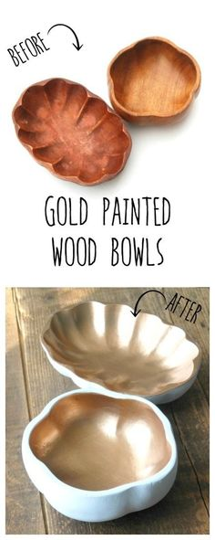 Transform plain $1 wooden bowls from the thrift store into beautiful, gold-lined faux ceramic dishes! I love projects like this -- inexpensive and so easy, but you end up with something amazing!