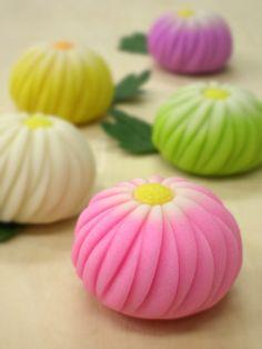 Chrisantemum(s?) from Japan...pink, green, yellow