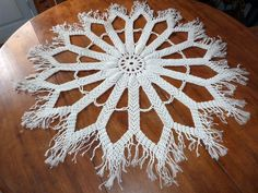 Antique French hand made macrame floral lace table doily w starburst sunburst christmas rose, vintage French table linens arts and crafts by MyFrenchAntiqueShop on Etsy