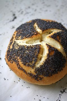Poppy-seed Kaiser Rolls  Yield: 12 sandwich size rolls    1 and 1/2 tablespoons instant yeast  2 cups warm water  1/4 cup granulated sugar  2 teaspoons fine sea salt  1/3 cup canola oil  6 to 6-and-1/2 cups unbleached all-purpose flour  Egg white from one large egg, mixed with 1 tablespoon of water  Poppy seeds