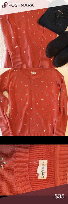 Maison Jules jeweled sweater Adorable sweater with gold jewel accents by Maison Jules. EUC. Coral/orange color. Maison Jules Sweaters Crew & Scoop Necks