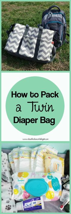 How to Pack a Twin Diaper Bag - Double Dose of Delight. Just because you have two babies doesn't mean you have to bring twice as much stuff! Here's what works for my family, plus my secret diaper bag staple! #twins #twindiaperbag #diaperbag #travel #twinmom #twinparenting