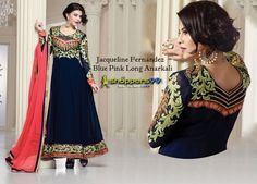 Buy online #JacquelineFernandez Blue Pink Long #AnarkaliSuit at discount prices. Free Shipping. Click to Shop: - http://www.shoppers99.com/jacqueline_fernandez_anarkali_suits_collection/jacqueline_fernandez_blue_pink_long_anarkali_t-612-261
