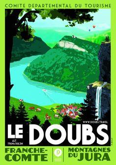 Travel Poster - Le Doubs - Montagnes de Jura - Franche Comté - France.