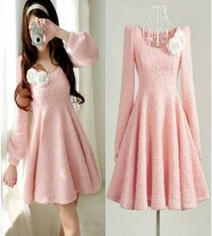 Adorable Pink Pleated Long Sleeve Dress