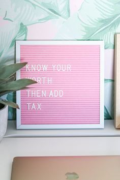 Pink Letter Board | Quotes | Inspiring Quotes | Blogger Office | Palm Print Wall | Pink Office | Palm Print Decor | Blog Office | White and Gold Desk | PB Teen
