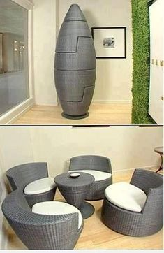 Patio in a neat rocket set.....loving the idea!  <3
