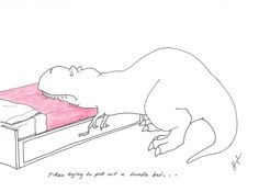 T-Rex trying to pull out a trundle bed.