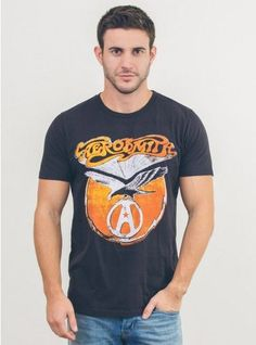44980af11 Aerosmith Tee - Classic Fit Basic Garment Dyed Crew - Cotton Jersey - Made  in the USAulp . Epic Rights Licensing
