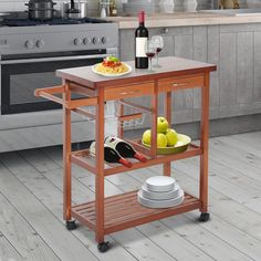 Wooden Rolling Kitchen Trolley Storage Microwave Cart Drawers Basket Shelves  #WoodenRollingKitchenTrolley