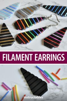 These 3D printed earrings designed using Tinkercad allow for you to thread filament into the grooves in any color you want. #Instructables #jewelry #fashion #3Dprint Mobiles, Ornament Hooks, 3d Pen, Cross Designs, Diamond Shapes, Jewelry Findings, Rainbow Colors, 3d Printing, Printed