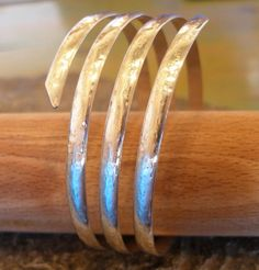 3 4 or 5 Strand Silver Hammered Thick Spiral Curvy Bangle