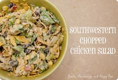 southwest chicken salad... This is OUT-STAND-ING!!! Only Thing I did different is slightly grill my chicken in cumin, chili pepper, orageno, onion powder & garlic salt, thyme... Wonderful wonderful recipe!! Made enuf for 4-6 meals depending on size!!!! Used lite everything for dressing and fiesta ranch... I love this creator!!!!!!
