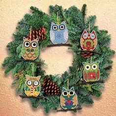 Janlynn Owl Christmas Ornaments - Cross Stitch Kit. Owl Ornaments, are fun and easy to create. Each Christmas ornament is a little different. Fun owl's sitting