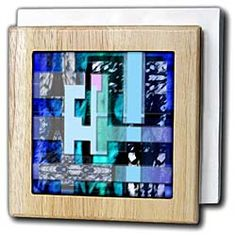 Blue, Purple, Mint and Pink on a Beveled and Layered Piece with lots of Different Textures Tile Napkin Holder