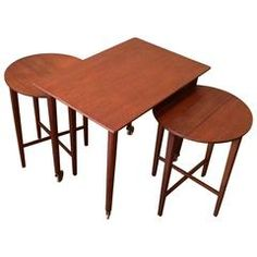 Danish Modern Teak Folding Nesting Tables Attributed to Grete Jalk