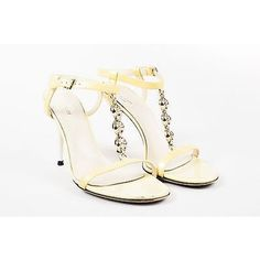 Pre-Owned Gucci Yellow White Patent Leather Open Toe Chain Link... (345 AUD) ❤ liked on Polyvore featuring shoes, sandals, multi, yellow high heel sandals, ankle strap sandals, wide sandals, white ankle strap sandals and white strappy sandals