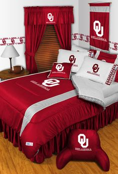 Oklahoma Sooners Logo | 2pc NCAA Oklahoma Sooners Logo Pillowcases Football Decor Bedding ...