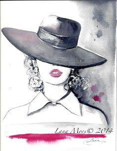 Moda ilustración Original acuarela pintura por LanasArt en Etsy