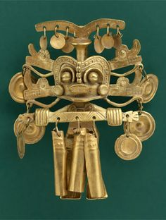 Calima Shaman with elaborate headdress | Cast, hammered and cut gold | 100 BC - 800 AD ||| {GPA}