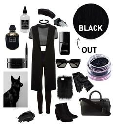 """""""BLACK OUT"""" by miaballesteros-1 on Polyvore featuring Topshop, River Island, Billini, Yves Saint Laurent, Tommy Hilfiger, Miss Selfridge, Urban Decay, Sleep In Rollers, Gorgeous Cosmetics and Chanel"""