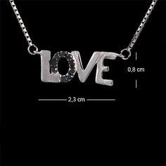 Corrente de prata 925 com ródio e pingente escrito Love com zírconia