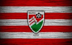 Download wallpapers Maldives national football team, 4k, logo, AFC, football, wooden texture, soccer, Maldives, Asia, Asian national football teams, Maldives Football Federation