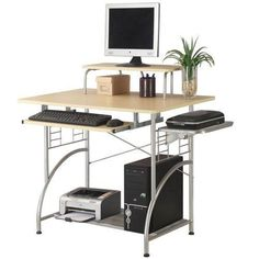 computer desk monitor shelf slide keyboard cpu storage shelf home office small ergocraft modern