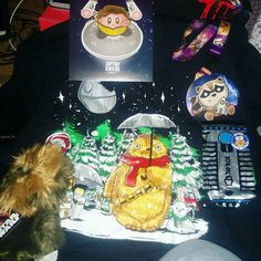 @1upbox December's Galaxy box am impressed with this months box thank you 1upbox for all the new sweet stuff #starwars #worthit #geeky #christmas #chewbacca #kirby #startrek #rocketraccoon #lanyard #decal #totoro #plushie #shirt #lightsaber #awsome #galaxy #1upbox