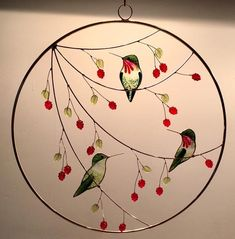 This is a larger piece features 3 different shaped hummingbirds (each hummingbird is about 2 inches long and inches wide) in a diameter ring. It comes with a 1 foot long copper chain for hanging. Stained Glass Birds, Faux Stained Glass, Stained Glass Panels, Fused Glass, Glass Painting Patterns, Stained Glass Patterns, Mosaic Art, Mosaic Glass, Mosaic Mirrors