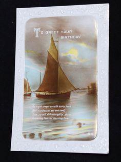 1920-th SHIP Birthday Greeting Post Card, VINTAGE PC Post Card c16