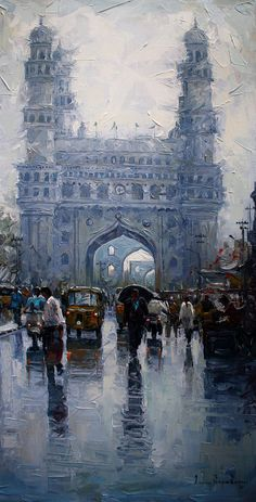 30 Traditional Indian Art Paintings On Canvas - Painting Contemporary Landscape, Urban Landscape, Landscape Art, Landscape Paintings, Landscape Photography, Travel Photography, Landscapes, Watercolor Landscape, Watercolor Art