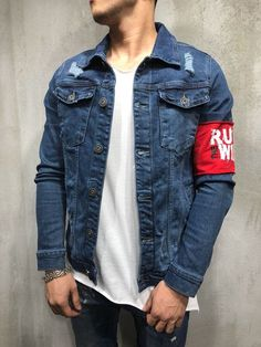 Red Armband Streetwear Denim Jacket 3787 OFF on First Order. Denim Jacket Men, Men's Denim, Denim Style, Denim Shirts, Streetwear Jackets, Streetwear Fashion, Navy Blue Dress Shirt, Jaket Jeans, Weed Shirts