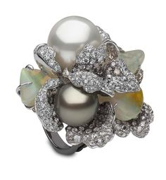 YOKO London diamond and opal ring in white gold, set with Australian South Sea and Tahitian pearls, as worn by Charlotte Riley at this year's BAFTA ceremony.