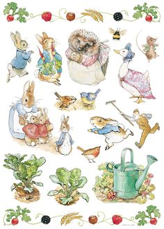 Art Appliques Beatrix Potter Wall Decals for sale online Peter Rabbit Birthday, Peter Rabbit Party, Coelho Peter, Beatrix Potter Illustrations, Peter Rabbit Nursery, Beatrice Potter, Peter Rabbit And Friends, Rabbit Baby, Book Illustration