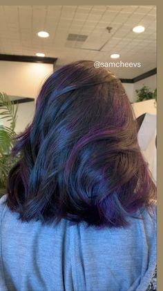 Black Hair With Highlights, Purple Highlights, Long Bob, Fall Hair, Purple Hair, Hair Lengths, Bob Hairstyles, Hair Ideas, Hair Cuts