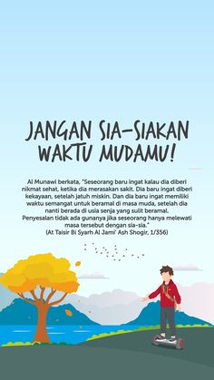 Manfaatkan waktu mudamu dengan baik.    Sumber : muslimmyway on instagram Reminder Quotes, Self Reminder, Words Quotes, Life Quotes, Beautiful Islamic Quotes, Islamic Inspirational Quotes, Islamic Posters, Religion Quotes, Islamic Quotes Wallpaper