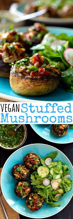 Vegan stuffed mushrooms are easy to make and packed with fresh herb-y, garlicky, citrus-y deliciousness. These little guys are great served as party finger food, a starter or a light main dish when paired with a fresh salad and crusty bread Salads to Try Veggie Recipes, Whole Food Recipes, Vegetarian Recipes, Cooking Recipes, Healthy Recipes, Dishes Recipes, Cooking Food, Vegetarian Cooking, Vegetarian Wedding Food