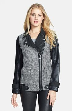 Betsey Johnson Tweed & Faux Leather Asymmetrical Jacket available at #Nordstrom #vegan #faux