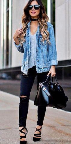 street style obsession: denim jacket + bag + rip + heels + top