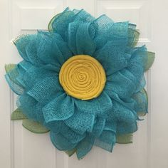 A personal favorite from my Etsy shop https://www.etsy.com/listing/276126064/sunflower-burlap-wreath-daisy-wreath