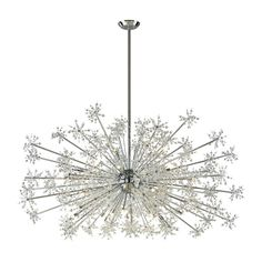 "ELK Lighting Snowburst 30 Light Chandelier. This 30 light Snowburst Chandelier features Miniature. with the Polished Chrome. Bulbs: Halogen QTY (30) G9 40 Watt (INCLUDED). An abundance of light ""reacts"" brilliantly. 