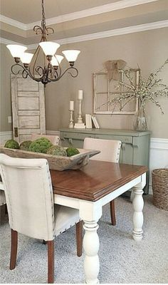 Exciting Modern Farmhouse Dining Room Decor Ideas – Home Decor Ideas Sweet Home, European Home Decor, Dining Room Design, Dining Area, Small Dining, Taupe Dining Room, Shabby Chic Dining Room, Living Room Decor, Living Rooms