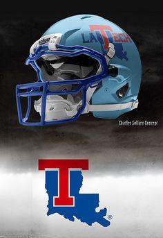 Louisiana Tech 5 Football Usa, Custom Football, Football Stuff, American Football, Football Helmet Design, College Football Helmets, Football Uniforms, Collage Football, Louisiana Tech